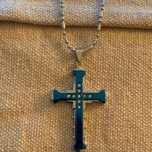 Other - Blue Cross Necklace Pendant Christian Jewelry
